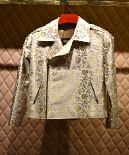 Cream Brocade Biker Jacket Fashion Designers Garments Suppliers
